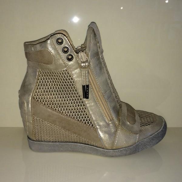 Ausgefallene Keil Sneakers mit Netz GOLD / BEIGE