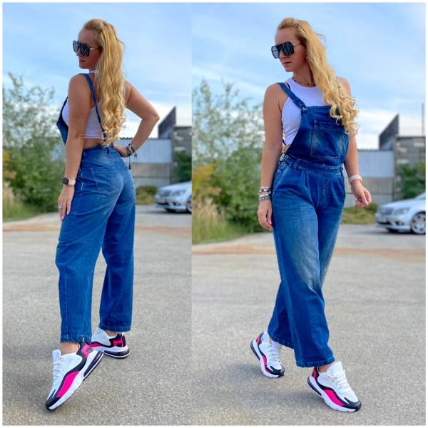 Italy Damen Denim JEANS Overall Hose Latzhose BLAU / Marke PLEASE Fashion