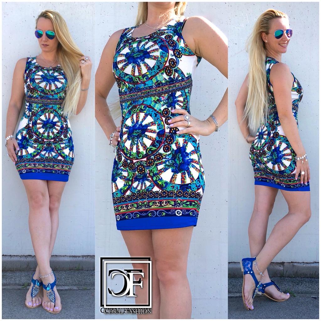 Fashion stretch Kleid / Sommerkleid mit Mandala Muster ...