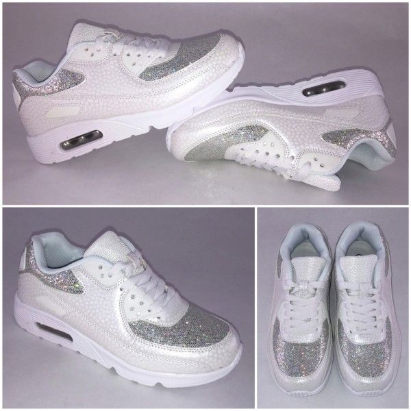 GLITZER / DOTS New Style LUFT Sportschuhe / Sneakers WEISS