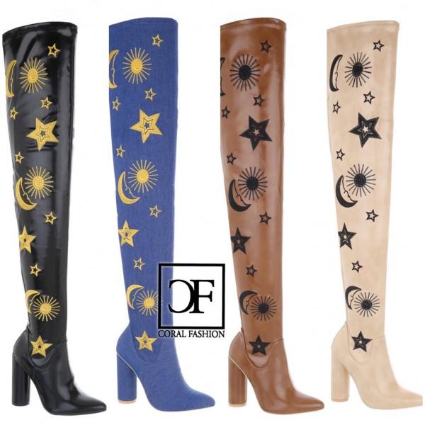 SEXY Damen Highheels OVERKNEEs Langschaft Stiefel Leder-Optik Blockabsatz Sonne Mond Sterne