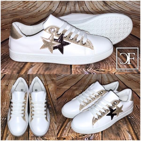 Lowcut 2 STARS Sportschuhe / Sneakers weiß / gold