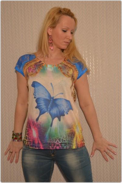 3D Shirt mit Netzt SCHMETTERLING Bunt / BLAU