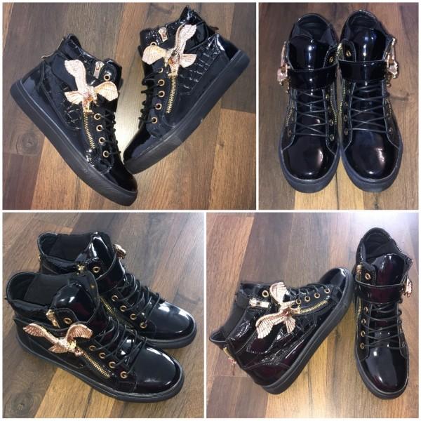 Stylische LACK Sneakers mit goldenem Adler SCHWARZ