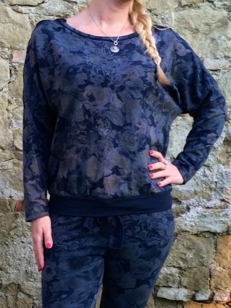 SWEAT Pullover mit ALL OVER Blumen print DUNKELBLAU