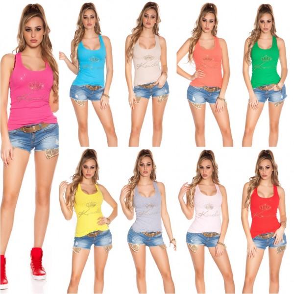Coole Damen stretch Feinripp Tanktop Top Shirt mit Strass KRONE besetzt