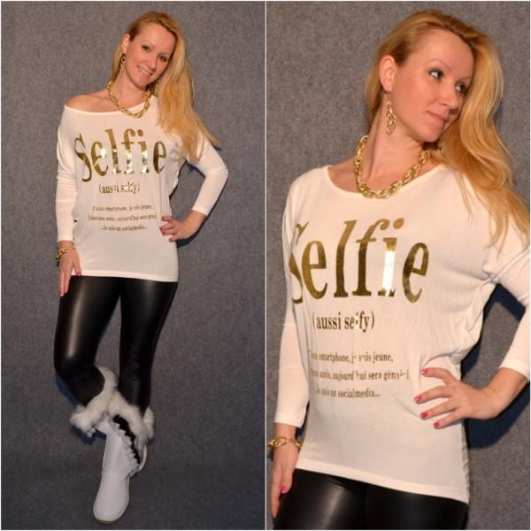 Stylisches SELFIE Longshirt mit Fledermausärmeln WEISS