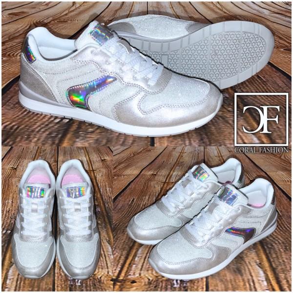 FASHION Sportschuhe / Sneakers HOLO Glanz SILBER
