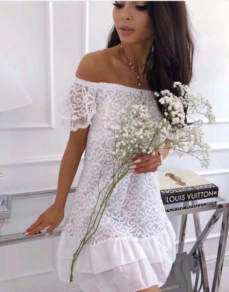 Damen Italy Kleid Sommerkleid Schulterfrei mit Rüschen & Spitze Weiß