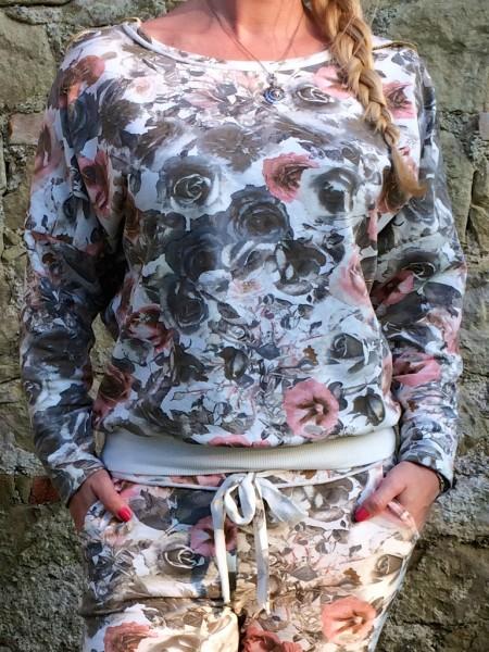 SWEAT Pullover mit ALL OVER Blumen print WEISS