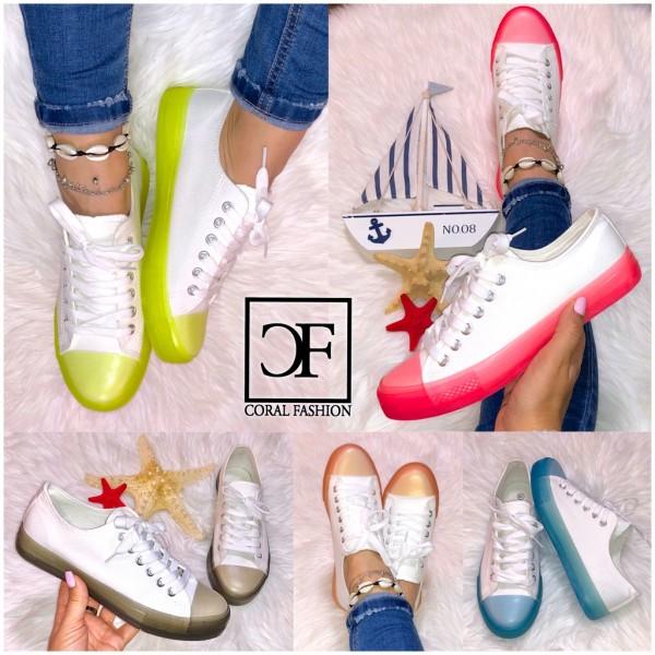 Lässige Damen TREND DENIM Lowcut Sneakers Sportschuhe mit COLOR Sohle 5 Farben