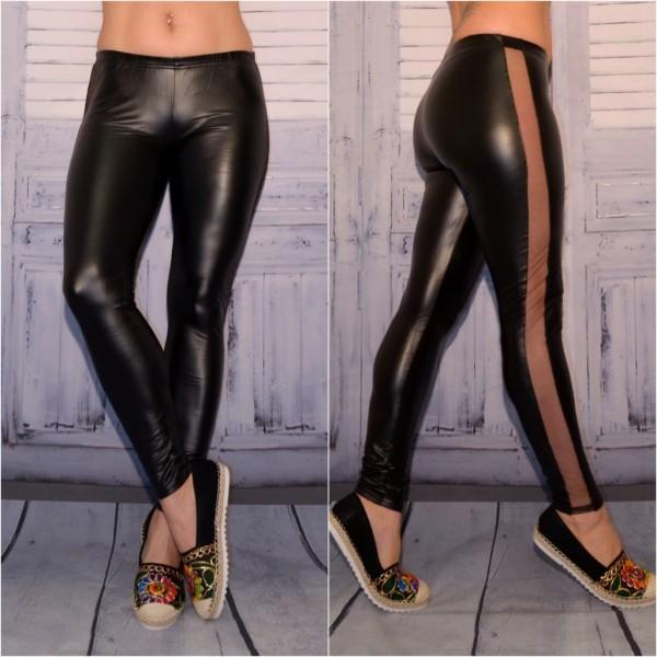 Sexy Leggings / Leggins in Lederoptik mit seitlichem NETZ Streifen SCHWARZ