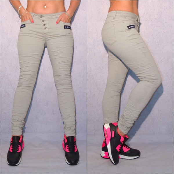 Bequeme stretch JEANS mit ARMY STARS Applikationen GRAU