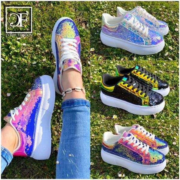 Damen Plateau LOW CUT Pailletten HOLO Sportschuhe / Sneakers in 3 Farben