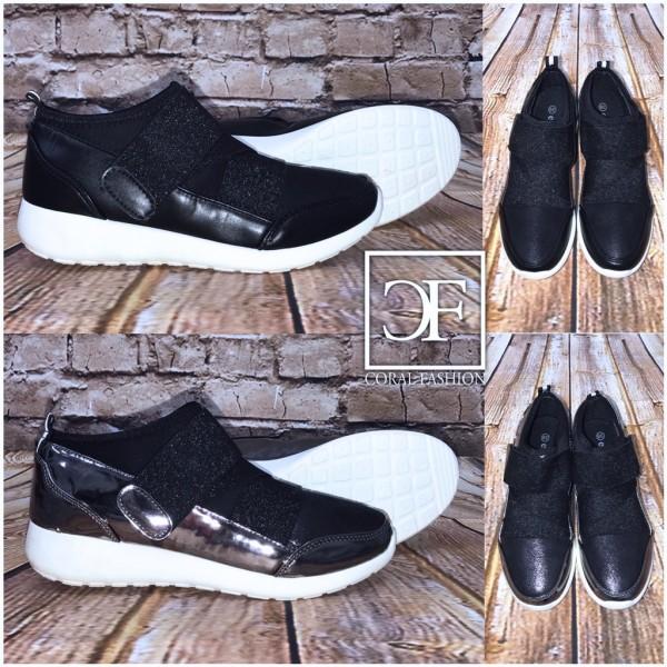 SLIP ON Klett Sneakers / Sportschuhe mit weißer Sohle