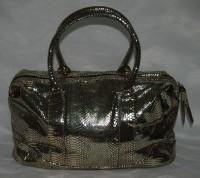 Handtasche Schlangenleder Design Gold/Schwarz