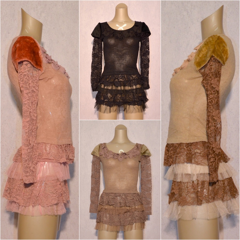 hot sale online 36c12 ffb04 Fashion Damen stretch Tunika Kleid Bluse Long Shirt mit Blumen Spitze und  Rüschen