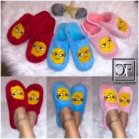 Flauschige EMOJI Damen Hausschuhe Schlappen Slippers Plüsch Schuhe Face Smiley