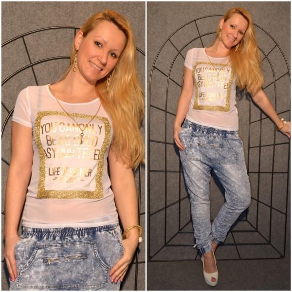 LIFE DESIGNER Shirt mit goldenem print WEISS