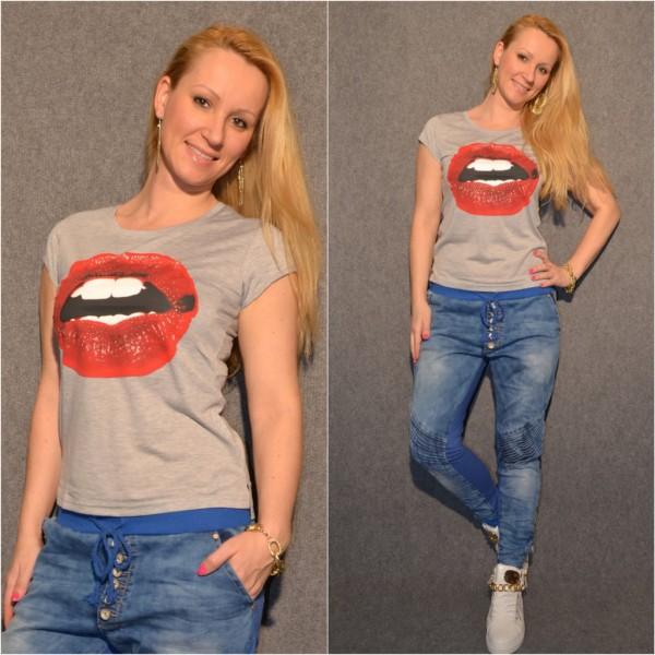 Tolles LIPS Baumwoll T-Shirt / GRAU