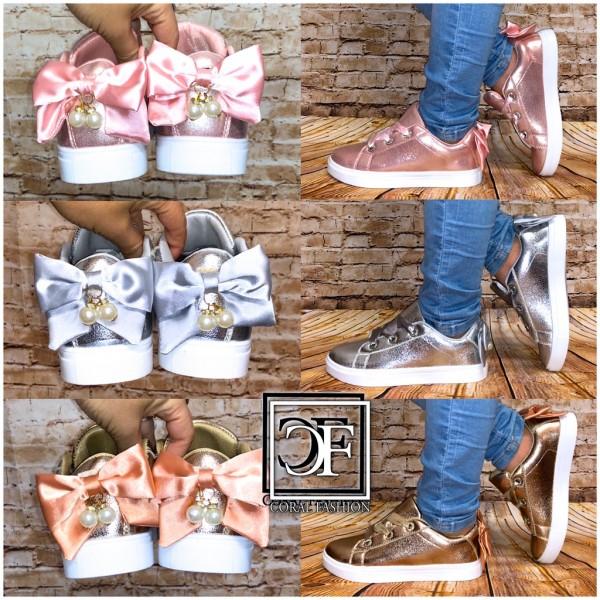 Kinder Lowcut Sneakers Sportschuhe mit MASCHE und PERLEN