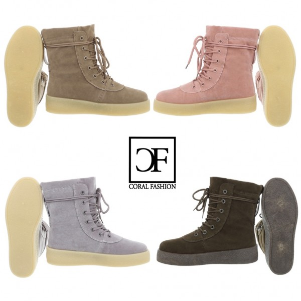 Coole Damen Highcut Sportschuhe / Sneakers Stiefeletten Schnürschuhe in Wildleder Optik