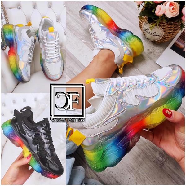 Damen HOLO / LACK Tex Chunky Sneakers Sportschuhe mit RAINBOW Sohle