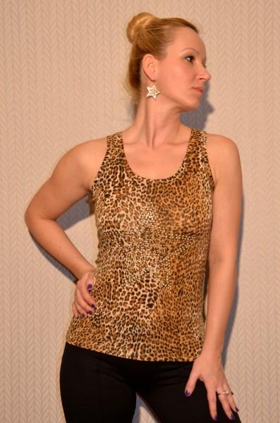 Leoparden Tanktop mit Nieten STERN - BRAUN/BEIGE