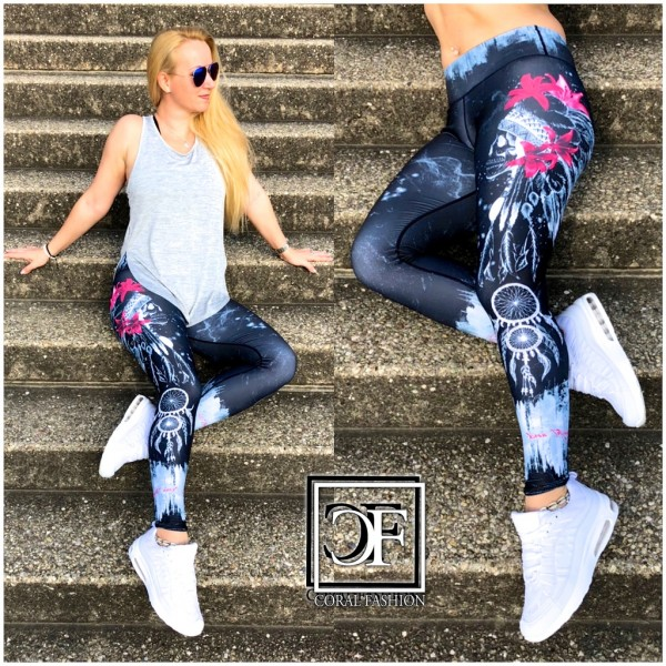 Damen stretch Leggings Fitness Sport Workout Streetwear Hose Indianer Totenkopf