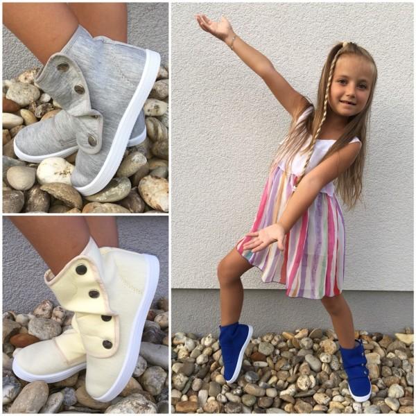 Kinder JERSEY Sneakers mit Druckknöpfen