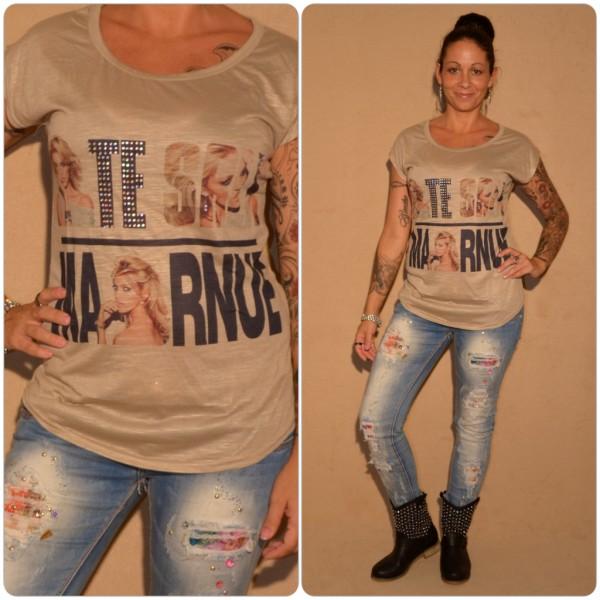 Stylisches Shirt Modell: SCHRIFT & Strass BRAUN