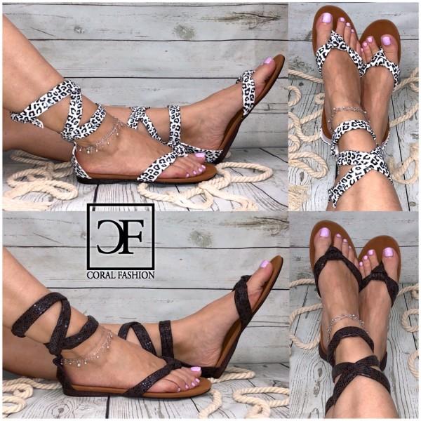 Damen Sandaletten / Sandalen / Zehentrenner zum Schnüren