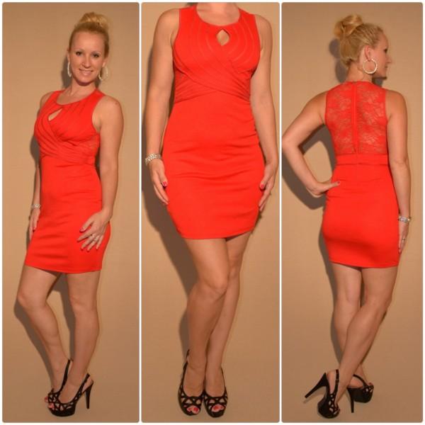 Mini Kleid mit Spitze & außergewöhnlichem Ausschnitt ROT