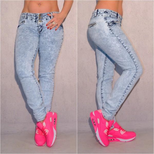 Übergrößen Oversize Damen stretch Denim JEANS Hose mit breitem gesteppten Bund Stonewashed Blau