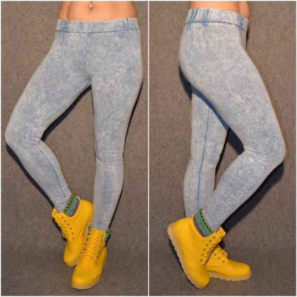 Lässige DENIM LOOK Leggings HELLBLAU