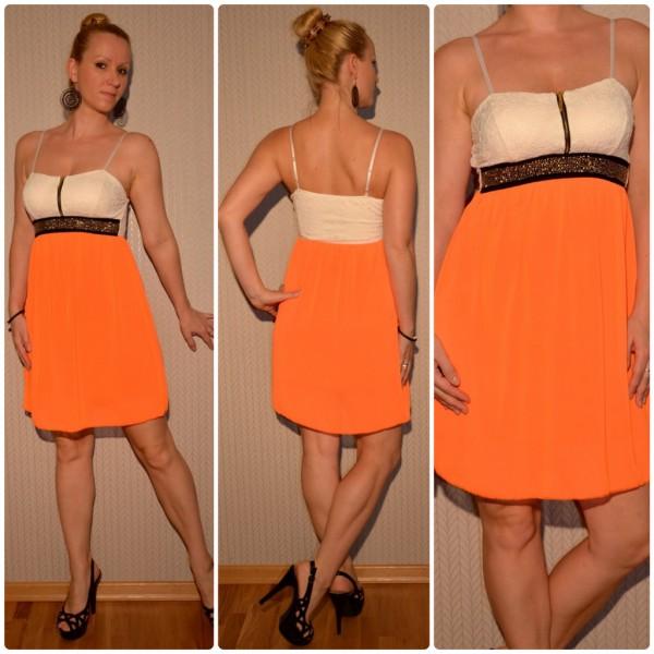 Atemberaubendes Kleid mit Nietenbund ORANGE