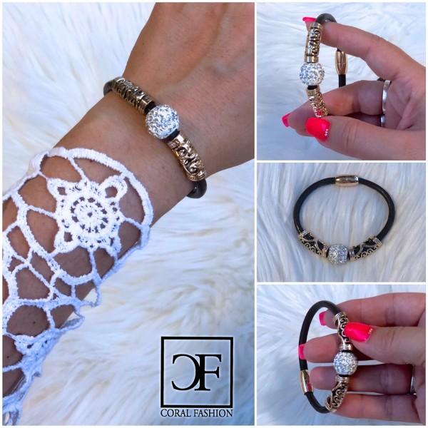 Fashion Schmuck Armband Glitzer STRASS und Magnetverschluss Braun