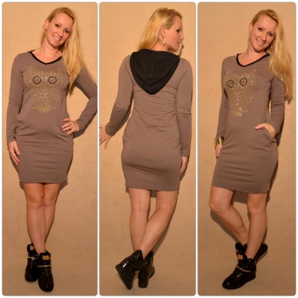 Lässiges Kleid mit Kapuze & Eule aus Strass/Nieten BRAUN