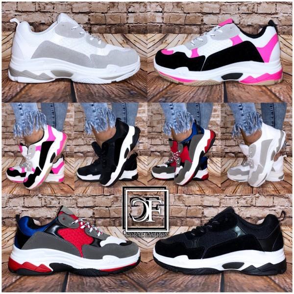 Damen CHUNKY Color Mix Fashion Sportschuhe Sneakers