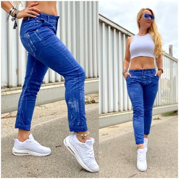 Italy Damen Denim JEANS Hose mit Spritzmuster Blau / Marke PLEASE Fashion