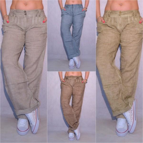 Lässige Fashion Damen Leinen Hose mit 2 Knöpfen