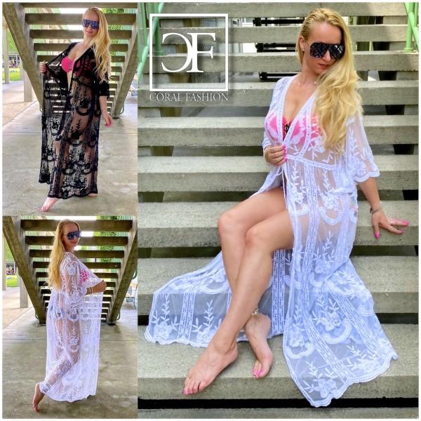Süßer Italy Damen Cover Up Kimono Strandkittel mit Spitze & Stickerei LANG in 2 Farben