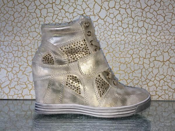Modische Keil Schnür Sneakers mit Strass GOLD