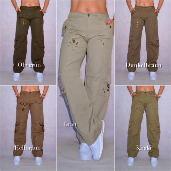 Lässige Damen Cargohose sportliche Hose mit coolen Seitentaschen (Größen beachten!)
