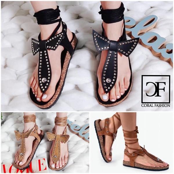 FASHION Damen Römer Gladiator Sandaletten Sandalen Zehentrenner mit Nieten zum Schnüren in 3 Farben