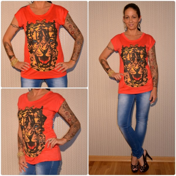 Stylisches Shirt Modell: TIGER Kopf ROT