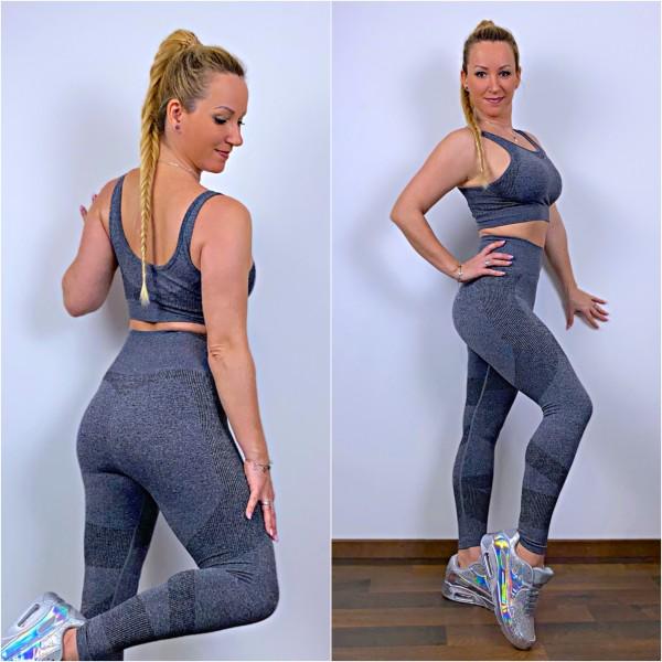 """Damen Workout Sport Fitness Outfit Set 2 Teiler Leggings + Sport BH """"SNAKE"""" Grau"""