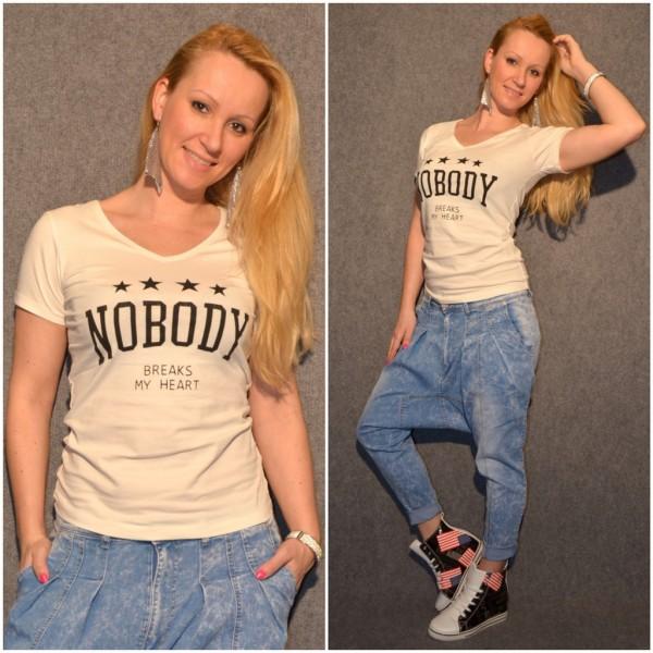 NOBODY Breaks My Heart T-Shirt / Natur WEISS