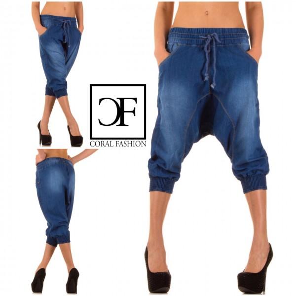 SUPER-LOW stretch Harems JEANS Bermuda Shorts Blau