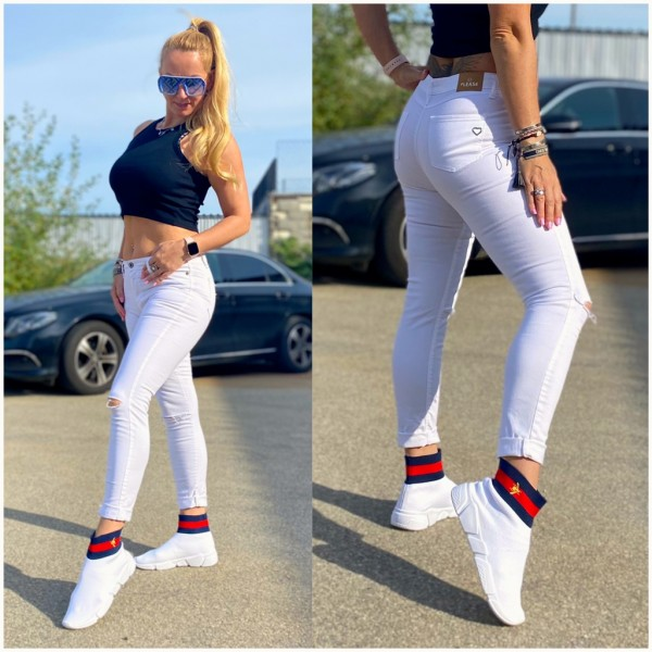Italy Damen Denim stretch JEANS Hose destroyed WEISS / Marke PLEASE Fashion